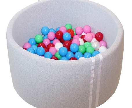 Suchy basen BabyBall z piłeczkami (300 szt) - melanż - grube dno - Prezent na Roczek