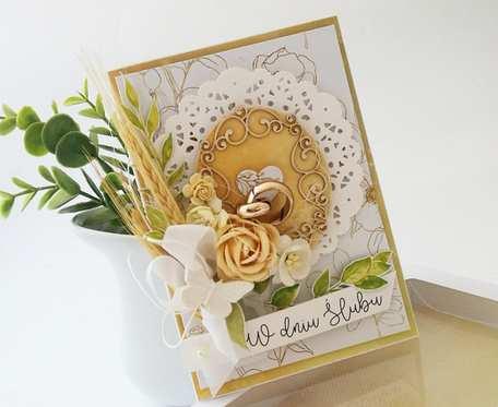 W drewnie - karta ślubna w pudełku