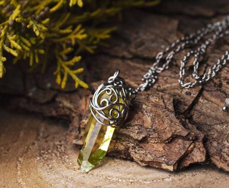Wisiorek magiczny talizman żółty kryształ górski stal chirurgiczna