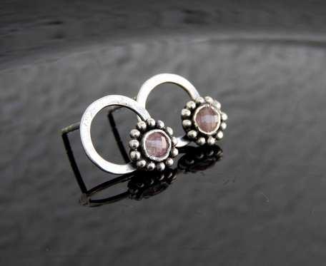 Kolczyki srebrne z różowym turmalinem