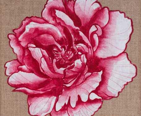 Czerwona piwonia - obraz namalowany na niezagruntowanym płótnie lnianym, oprawiony w drewnianą ramę