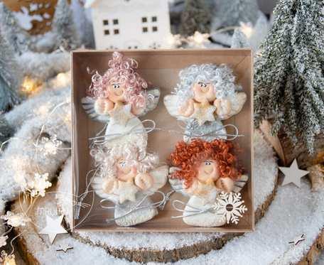 Paczuszka uroczych aniołków na zawieszce, w pudełeczku. Prezent na Boże Narodzenie (s02)