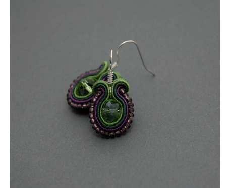 kolczyki sutasz zielono-fioletowe
