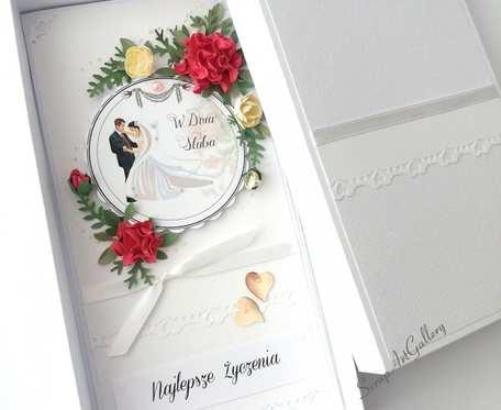 Kompozycja ślubna kartka w pudełku