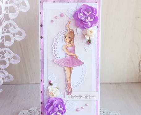 Kartka DL urodzinowa z baletnicą GOTOWA