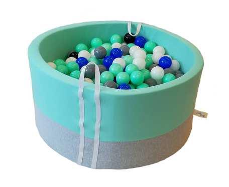 Suchy basen BabyBall z piłeczkami (300 szt) - miętowy - grube dno - Idealny prezent na Roczek