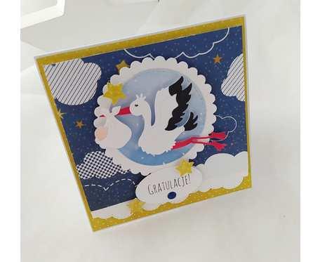 BOCIAN - KARTKA Z OKAZJI NARODZIN - niebieska