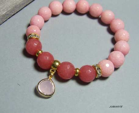 Różowo-malinowe jadeity, elastyczna bransoletka