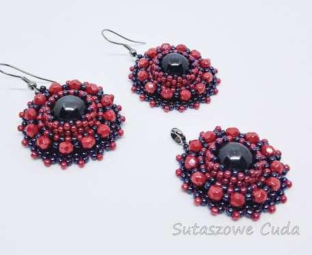 Czerwono - czarny komplet z koralików TOHO