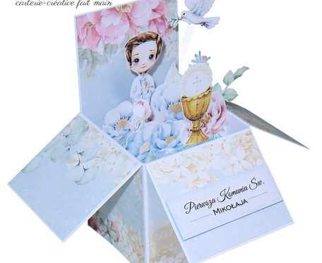Kartka 3D pudełko pop up - Pierwsza Komunia chłopca