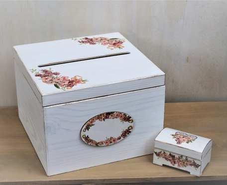 Kufer na koperty i pudełko na obrączki ślubne