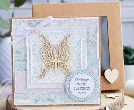 Przepiękna kartka w przyozdobionym delikatnie pudełeczku. Na każdą okazję. Dla kobiety (k02)