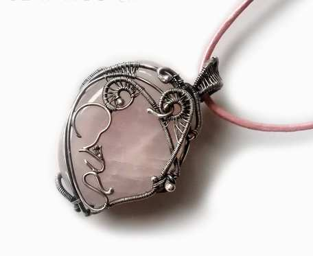 Wisiorek srebrny z dzidzią Kwarc różowy