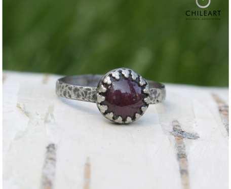Rubin i srebro - pierścionek 1399a rozmiar 9