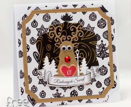 Renifer z ruchomymi oczkami - Kartka świąteczna KBN1919