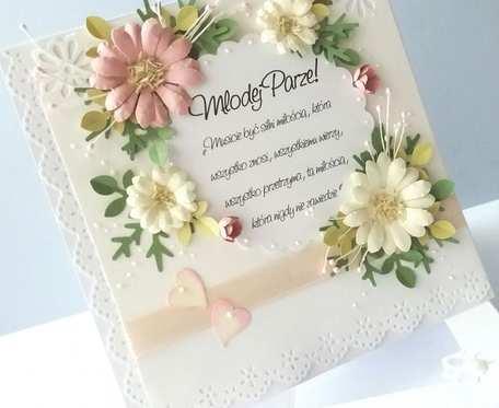 Pastelowe Kwiaty - kartka ślubna