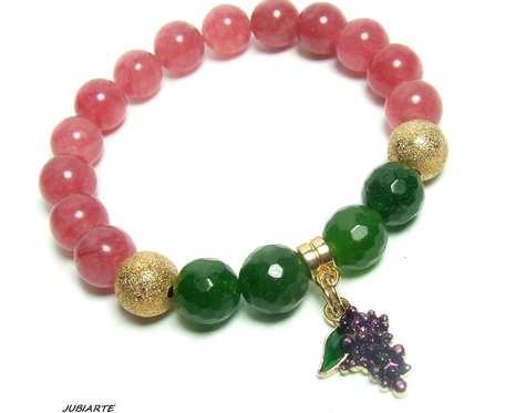 Maliny i winogrona, bransoletka z jadeitów