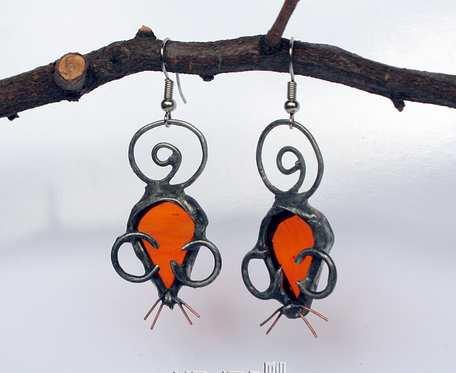 Myszki pomarańczowe - kolczyki