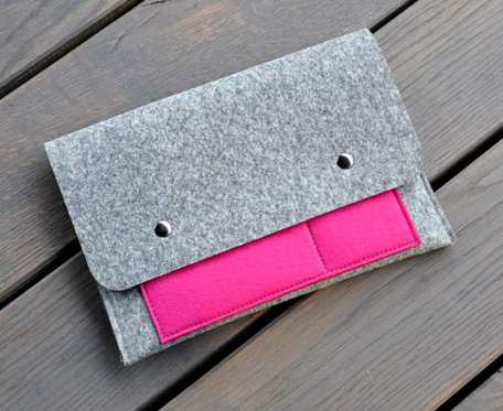 Organizer na notatki - szary z różową kieszonką - na format A5
