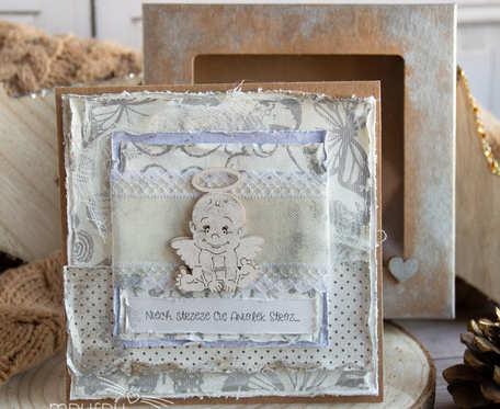 Wyjątkowa kartka z Aniołkiem dla dziecka - narodziny, Chrzest Święty, Roczek itp. Piękne przyozdobione eko pudełeczko.