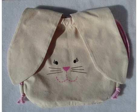 Beżowo różowy króliczek - worko-plecak dla przedszkolaka