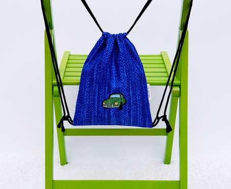 Plecak – Worek dla dzieci niebieski wzór i zielony samochód