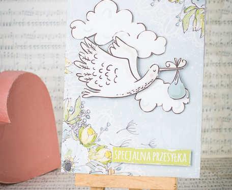 Kartka z okazji narodzin chłopca - z bocianem