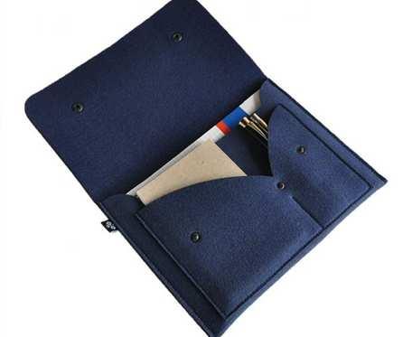 Organizer filcowy na notatki - granatowy - na format A5
