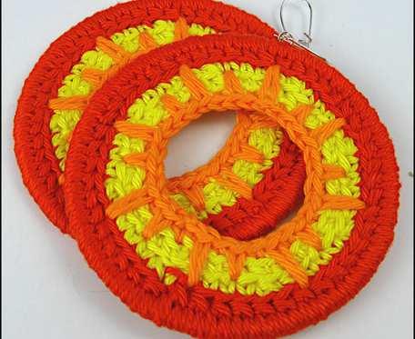 SOL ANGELICA duże kolorowe szydełkowe bawełniane kolczyki