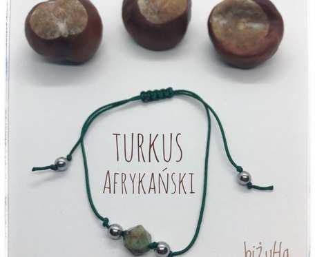 Minimalistyczna bransoletka z kamieniem turkus zielony na sznurku