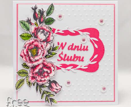 Kartka ślubna z kwiatami KS1906