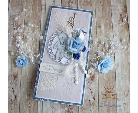 Kartka 3D na chrzest Winter Star Blue GOTOWA