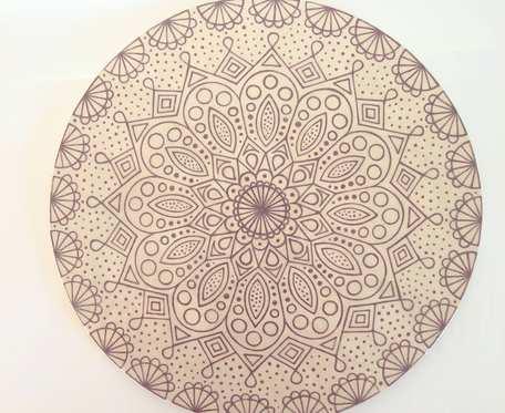 Patera z fioletową mandalą 29cm