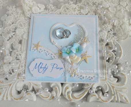 Ślubna kartka w pudełku z okienkiem 49