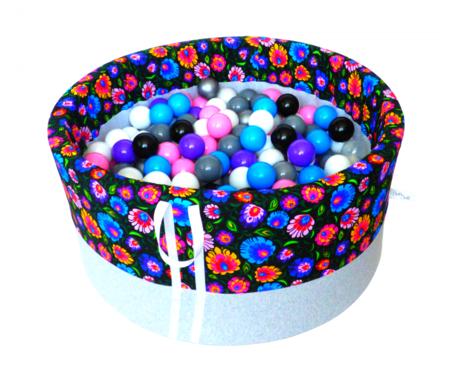 Suchy basen BabyBall z piłeczkami (300 szt) - łowicki na ciemnym tle - grube dno - Idealny prezent na Roczek
