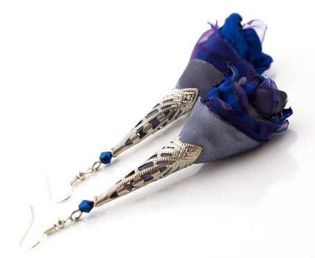 Kolczyki materiałowe Silk długie granatowe