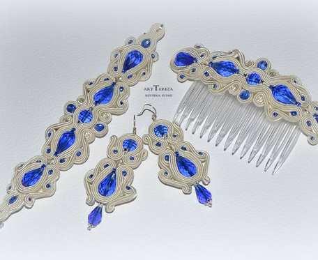 biżuteria ślubna sutasz ivory,  trzyczęściowa