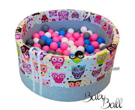 Suchy basen BabyBall z piłeczkami (250 szt) dla dzieci - różowe sowy - grube dno - prezent na Roczek