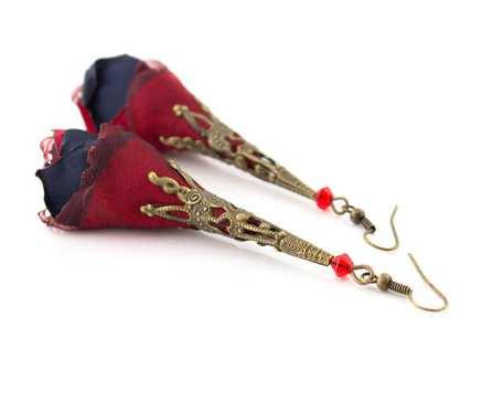 Kolczyki Silk czerwone granatowe