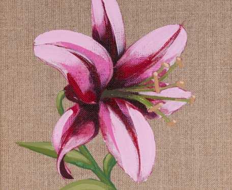 Lilia - obraz namalowany na niezagruntowanym płótnie lnianym, oprawiony w drewnianą ramę