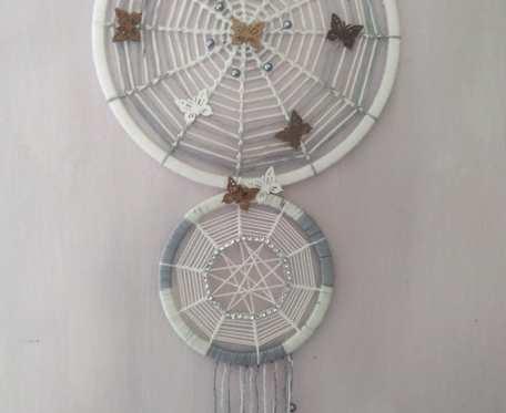 Podwójny łapacz snów 28/16 cm z motylkami