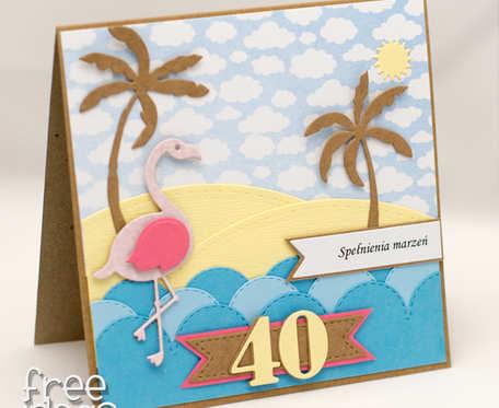 Kartka na 40-tkę. Flaming, plaża, palmy, lato KU1834