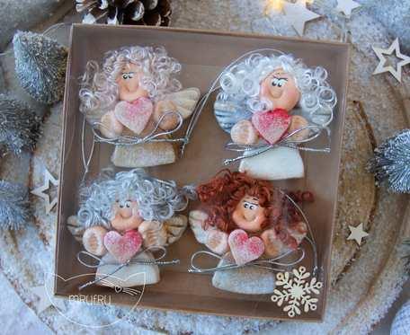 Paczuszka uroczych aniołków na zawieszce, w pudełeczku. Prezent na Boże Narodzenie (a13)