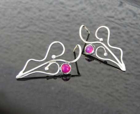 Kolczyki srebrne z różowym agatem