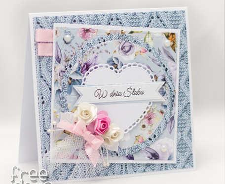 Przestrzenna kartka ślubna z kwiatami KS1916