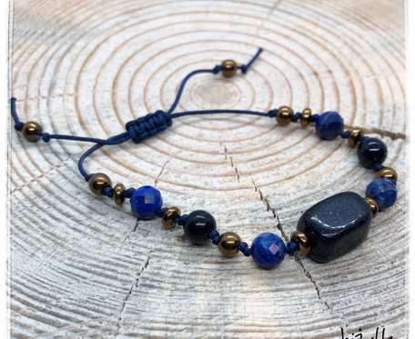 Bransoletka z kamieniami noc kairu, lapis lazuli na sznurku