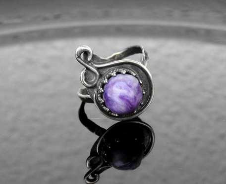 Pierścionek srebrny z czaroitem