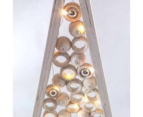 Strzelista Choinka drewniana 20 LED Biała z kulami