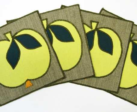 Podkładki pod filiżanki - żółte jabłuszka