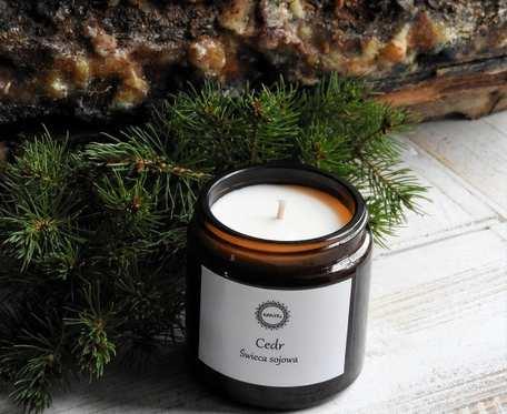 Zapachowa, naturalna świeca sojowa CEDR